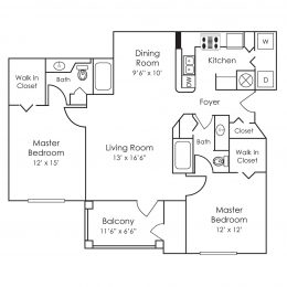Bell Preston Reserve 2 bedroom floor plan